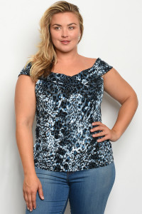 C27-B-2-T6254X BLUE BLACK LEOPARD PRINT PLUS SIZE TOP 2-2-2