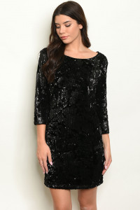 S16-5-1-D1483 BLACK WITH SEQUINS DRESS 2-2-2  ***WARNING: California Proposition 65***
