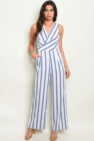 S22-1-4-J82206 OFF WHITE BLUE STRIPES JUMPSUIT 2-2-2