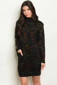 S21-12-2-S1799 BLACK MULTI SWEATER DRESS 2-4