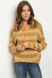 S14-7-2-S8191 MUSTARD OLIVE STRIPES SWEATER 4-1-2