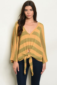 S23-13-2-S8213 MUSTARD OLIVE STRIPES SWEATER 2-2