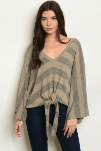 S23-13-2-S8213 MOCHA OLIVE STRIPES SWEATER 3-2