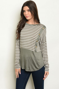 C95-B-1-T2659 OLIVE STRIPES TOP 2-3-2