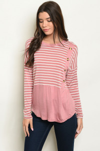 C95-B-1-T2659 MAUVE STRIPES TOP 2-2-3