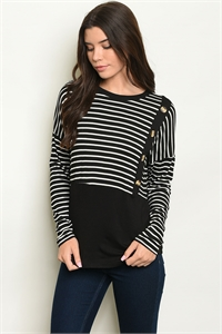C96-B-4-T2659 BLACK STRIPES TOP 2-2-2