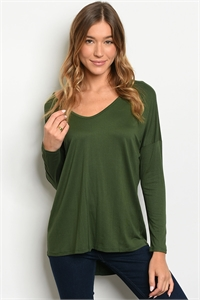 C52-B-2-T32069 OLIVE STRIPES TOP 2-2-2