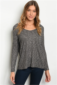 C58-B-5-T32069 CHARCOAL STRIPES TOP 2-2-2