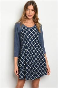 C57-A-4-D264 NAVY CHECKERED DRESS 2-2-2
