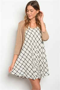 C60-A-1-D264 IVORY TAUPE CHECKERED DRESS 2-1