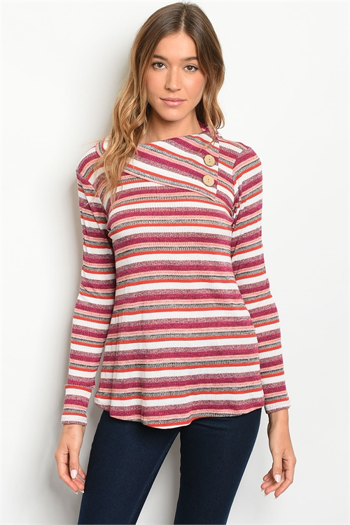 C53-B-3-T2661 MAGENTA MULTI STRIPES TOP 2-2-2
