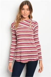C46-B-1-T2661 MAGENTA MULTI STRIPES TOP 1-1-2