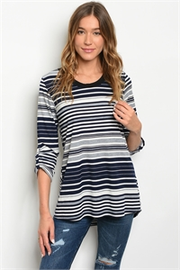 C48-A-1-T17070 NAVY IVORY STRIPES TOP 1-1-4