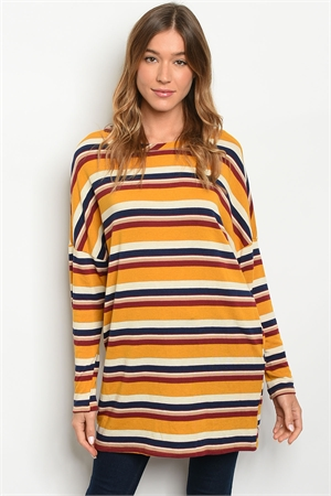 C41-A-5-D16100 MUSTARD WINE STRIPES TOP 2-2-2