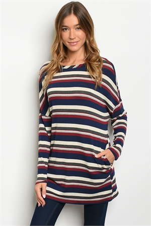 C37-A-4-D16100 NAVY WINE STRIPES TOP 2-2-2
