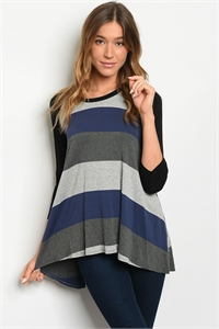 C33-A-2-T17020 NAVY GRAY STRIPES TOP 2-2-2