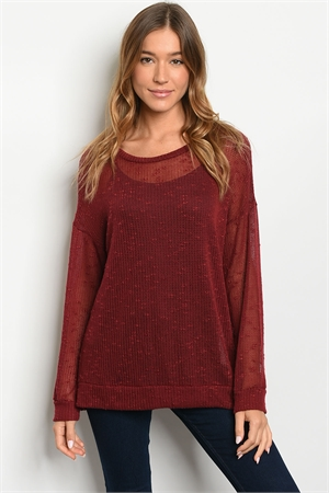 S13-11-1-T16101 BURGUNDY TOP 2-2-2