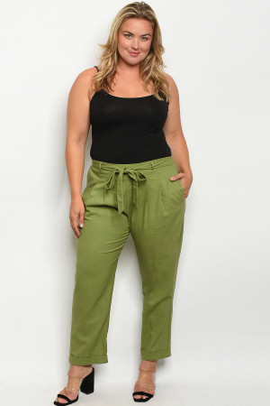 C34-A-7-P3082X OLIVE PLUS SIZE PANTS 2-2-2