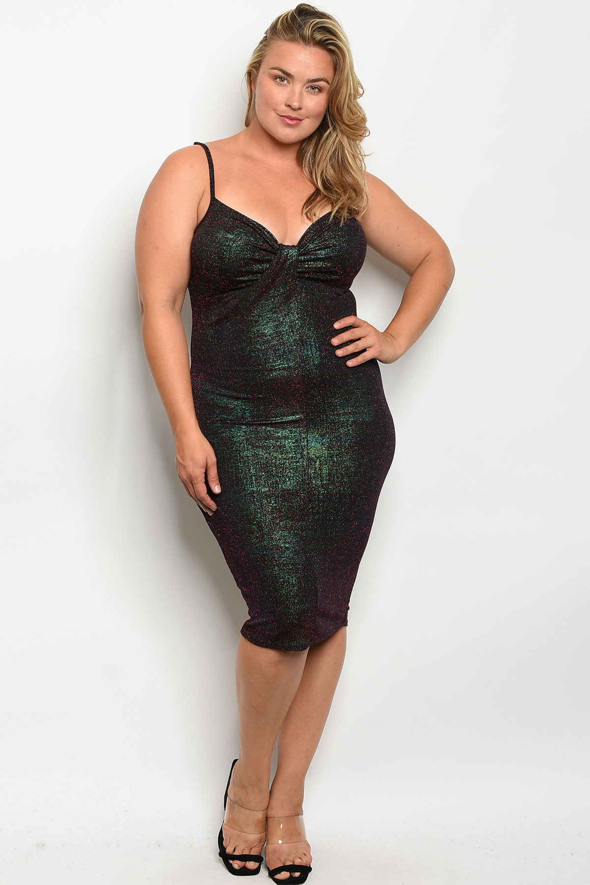 C54-A-3-D1888X BLACK RED WITH SHIMMER PLUS SIZE DRESS 2-2-2 ***WARNING:  California Proposition 65***