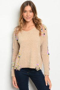 S9-20-1-S0006 BEIGE WITH SEQUINS SWEATER 1-2  ***WARNING: California Proposition 65***