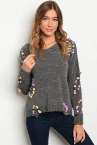 S9-20-1-S0006 CHARCOAL WITH SEQUINS SWEATER / 4PCS  ***WARNING: California Proposition 65***
