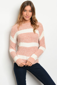 S13-4-4-S35521 IVORY PEACH STRIPES SWEATER 2-2