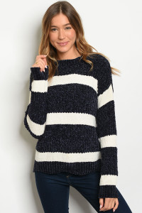 S9-20-1-S35521 IVORY NAVY STRIPES SWEATER / 3PCS