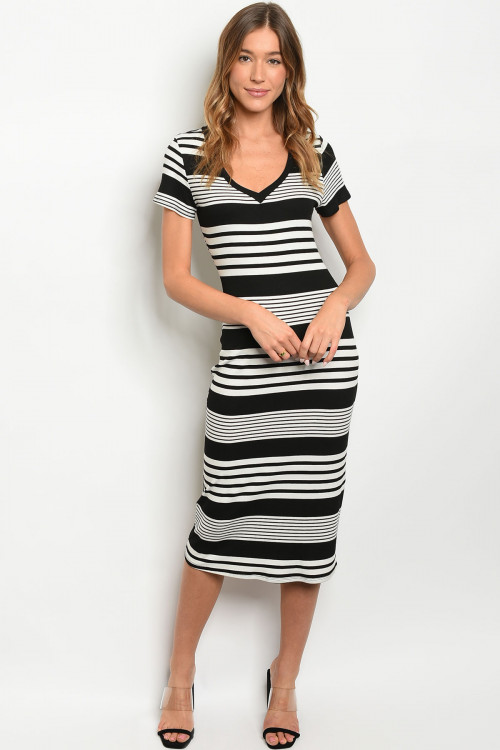 S13-7-4-D64981 BLACK IVORY STRIPES DRESS 2-2-2