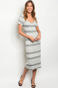 S9-16-4-D64981 GRAY IVORY STRIPES DRESS 2-2-2