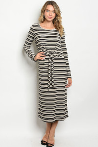 S13-7-4-D68574 BLACK TAUPE STRIPES DRESS 2-2-2
