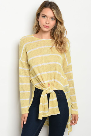 C47-A-3-T73241 YELLOW WHITE STRIPES TOP 2-2-2