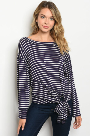 C40-A-1-T73237 NAVY STRIPES TOP 3-2-2