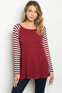 C32-A-1-T2805 BURGUNDY IVORY STRIPES TOP 2-2-2