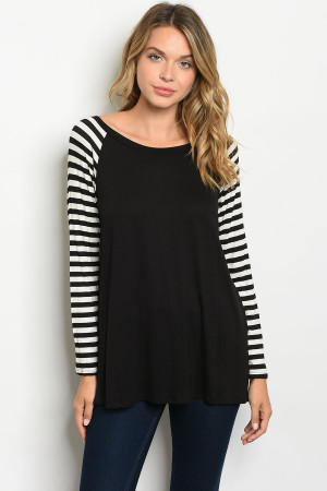 C34-A-2-T2805 BLACK IVORY STRIPES TOP 2-2-2