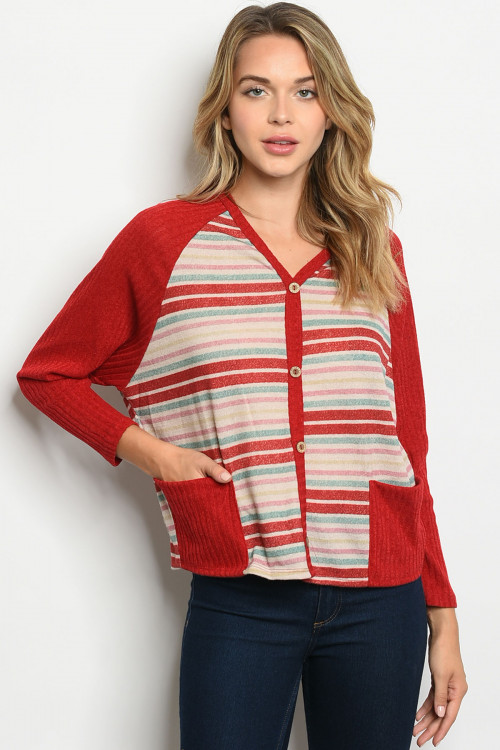 C29-B-3-T1097 RED STRIPES TOP 2-2-2
