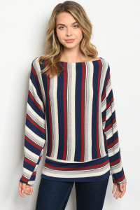 C7-B-5-T2746 NAVY BURGUNDY STRIPES TOP 2-2-2