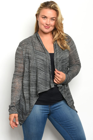 S16-1-5-C43216X CHARCOAL PLUS SIZE CARDIGAN 2-2-2