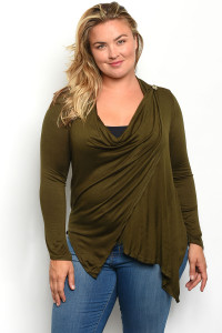 S9-16-5-T43208X OLIVE PLUS SIZE TOP 2-2-2