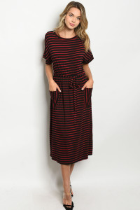 C97-A-5-D17101 BLACK BURGUNDY STRIPES DRESS 2-2-2