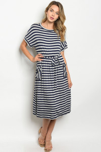 C91-A-7-D17101 NAVY GRAY STRIPES DRESS 2-2-2
