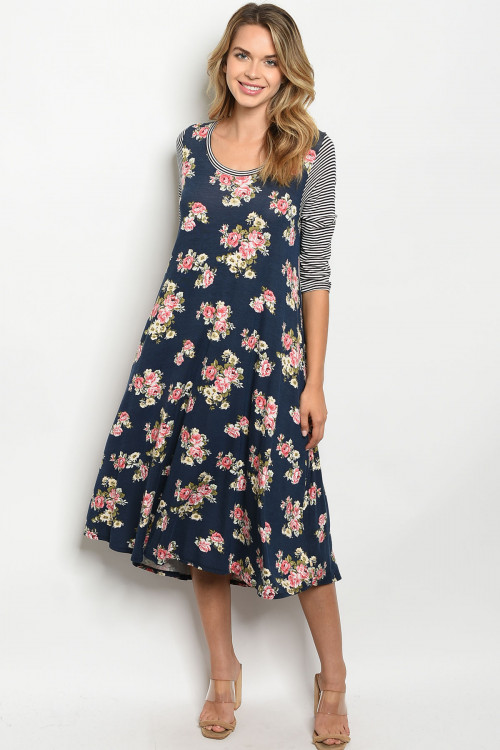 C81-A-3-D16100 NAVY WITH ROSES PRINT DRESS 2-2-2