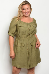 S15-2-3-D4278X OLIVE PLUS SIZE DRESS 2-2-2