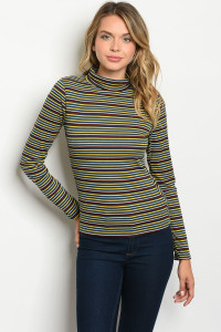 C16-B-6-T11992 TEAL MULTI STRIPES TOP 2-2-2