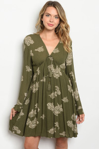 S21-5-2-D6000 OLIVE WITH FLOWER PRINT DRESS 2-2-2