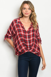 S20-7-1-T10561 RED CHECKERED TOP 2-2-2