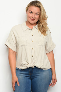 S19-7-5-T5566X OATMEAL PLUS SIZE TOP 1-2-2-1