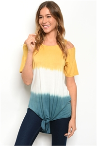 C48-A-2-T4750 YELLOW INDIGO TYE DYE TOP 2-2-2-1