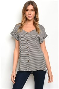 C52-A-4-T47689 BLACK STRIPES TOP 2-2-2-1