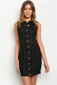 S14-3-1-D11704 BLACK DENIM DRESS 2-2-2