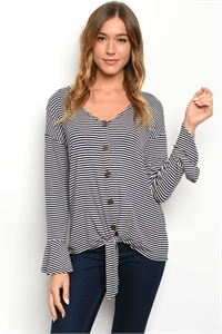 C80-B-3-T50429 NAVY STRIPES TOP 2-2-2-1